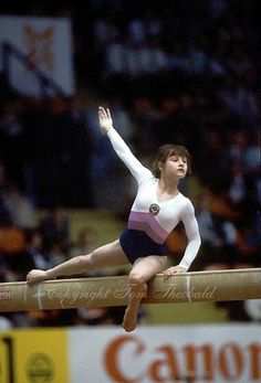 Yelena Shushunova of Soviet Union performs on balance beam at 1985 European Championships in women's artistic gymnastics at Helsinki, Finland...
