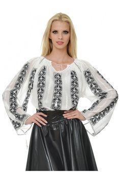 Ie Traditionala Romaneasca Maneca Lunga Motivul Ghiocelul Negru Folk Costume, Costumes, Tulle, Beautiful Women, Rustic, Traditional, Clothing, Skirts, Wedding