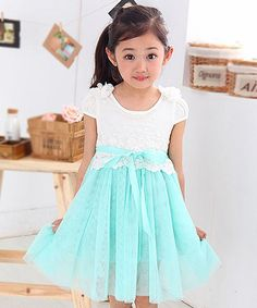 Another great find on #zulily! White & Teal Lace Overlay Dress - Girls #zulilyfinds