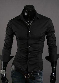 7f6bd3fdce9 Black Fashion Men Long Sleeve Skinny Blends Dress Shirt M L XL XXL