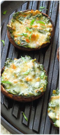 Creamy Spinach Stuffed Mushrooms - Portobello mushrooms stuffed with creamy garlic spinach, then topped with grated parmesan - the perfect summer lunch!