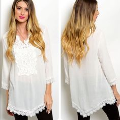 Beautiful Boho White Tunic❤️ Beautiful Boho Tunic features detailed laces neckline, hem and sleeves. Super soft fabric. Tops Tunics