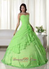 Spring Green Ball Gown Sweetheart Floor-length Chiffon Beading Quinceanera Dress Plus Size