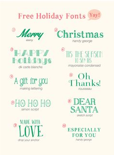 OH HELLODY: Free Holiday Fonts // to use for parties, invitations, weddings, printables, and more.