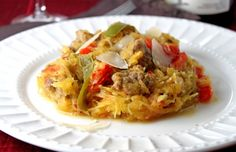 Spicy Spaghetti Squash with Italian Sausage and Peppers