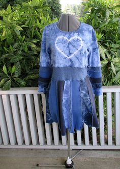 Recycled T Shirt Dress All Cotton Upcycled Tie Dye by ThankfulRose