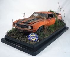 1969 Chevrolet Camaro Z/28 M2 Machines Barn Find Weathered 1/24 Custom Diorama #CastlineM2MachinesDetroitMuscle #1969CamaroZ28