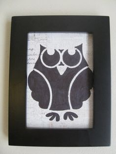35 X 5 Owl Drawing owl black majestic post by CampbellsCreation, $11.00