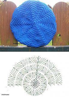 Crochet Beret - Chart by TamidP Crochet Beret Pattern, Crochet Hat Tutorial, Crochet Cap, Crochet Beanie, Crochet Motif, Crochet Stitches, Knitted Hats, Knitting Patterns, Crochet Patterns