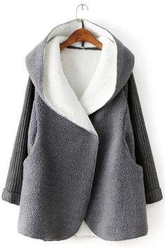 c869a46f9e83c Fashionable Long Sleeve Hooded Fleece Coat For Women Faux Fur Collar Coat