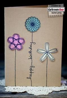 Happy Birthday flower card kraft