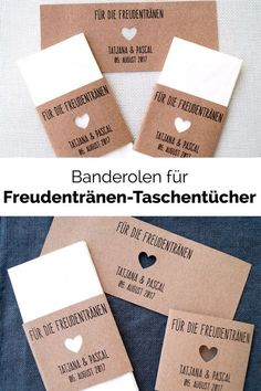 When the tears of joy roll over, prepared handkerchiefs are a lovingly . Wenn die Freudentränen kullern, sind vorbereitete Taschentücher eine liebevoll… When the tears of joy are rolling, prepared handkerchiefs are a loving gesture. Diy Wedding Gifts, Wedding Cards, Our Wedding, Dream Wedding, Wedding Invitations, Happy Tears, Tears Of Joy, Sister Wedding, Just Married
