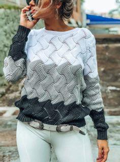 Вязаный джемпер спицами с красивым узором Matching Sweaters, Warm Sweaters, Casual Tops, Casual Wear, Wholesale Clothing, Long Sleeve Sweater, Types Of Sleeves, Cute Outfits, Knitting