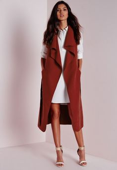 eaadfaf1de72f Sleeveless Belted Waterfall Coat Rust - Coats and Jackets - Missguided Vest  Outfits