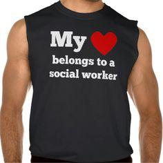 My Heart Belongs To A Social Worker Sleeveless Shirt Tank Tops