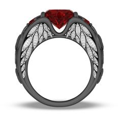 Heart Shaped Lab-created Ruby 925 Sterling Silver Angel Wing Ring for... (18440 RSD) ❤ liked on Polyvore featuring jewelry, rings, ruby jewelry, retro jewelry, sterling silver rings, angel wing jewelry and heart-shaped jewelry