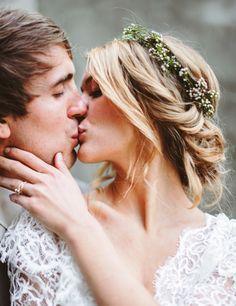 Bride's messy chignon bun bridal hair ideas Toni Kami Wedding Hairstyles ♥ ❷ flower crown corona halo Kiss to the groom