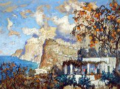 Konstantin Gorbatov (1876 — 1945, Russia - Germany) The orange tree, Capri. gouache on cardboard. 8.25 X 11.25 in.