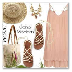 """""""Bohemian Picnic in the Park"""" by jecakns ❤ liked on Polyvore featuring George, River Island, Chan Luu, dress, sandals, boho and picnic"""