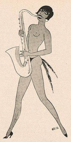 Illustration by Jos. Geis, 1928, Josephine Baker, Jugend, Berlin.