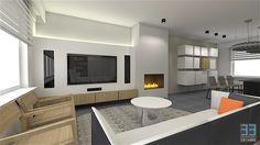 Woonkamer ontwerp met tv meubel zwevende wandkast. Modern interieur ...