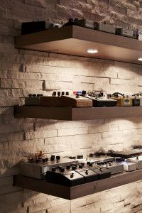 Pre-wired effects pedal library - i love the stone and floating shelves Home Studio Setup, Music Studio Room, Sound Studio, Studio Layout, Studio Ideas, Recording Studio Furniture, Recording Studio Design, Home Music Rooms, Music Bedroom