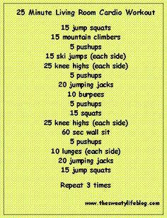 Living room workout on pinterest indoor workout running for Living room exercises