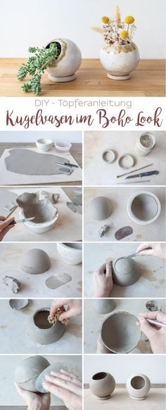 DIY - Töpferanleitung: Kugelvase und Blumentopf töpfern - Leelah Loves You are in the right place about Cactus craft Here we offer you the most beautiful pictures about the Cactus macetas you are look Clay Pot Crafts, Diy Clay, Cosas American Girl, Diy Cadeau Noel, Cactus Craft, Cactus Drawing, Fleurs Diy, Diy Fence, Decoration Crafts