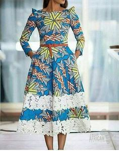 African Traditional Wedding Dress Robe Wax et dentelle ~African fashion, Ankara, kitenge, African women dresses, A… African Maxi Dresses, African Dresses For Women, Ankara Dress, African Attire, African Wear, African Women, Ankara Fabric, African Style, 50s Dresses