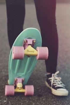 colorful penny board Penny Skateboard, Skateboard Girl, Penny Boards, Penny Nickel Board, Diy Pinterest, I Need Vitamin Sea, Skate Girl, Pretty Pastel, Skateboards