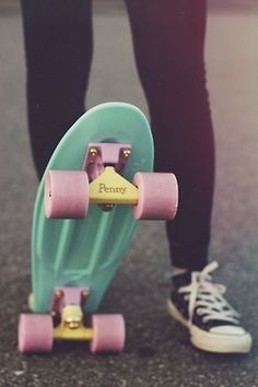 Penny board pink yellow blue green converse awesome skateboard longboard skate fun summer ☮k☮ Penny Skateboard, Skateboard Girl, Penny Boards, Penny Nickel Board, Diy Pinterest, I Need Vitamin Sea, Skate Girl, Pretty Pastel, Skateboards