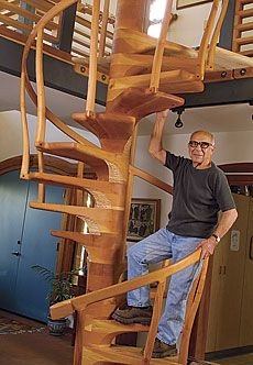 Sam Maloof - a woodworking legend and inspiration to millions on one of his fine staircases. Fine Woodworking, Woodworking Projects, Woodworking Furniture, Solid Wood Furniture, Furniture Design, Bespoke Furniture, Spiral Staircase, Floating Staircase, Staircases