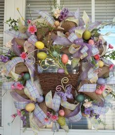 """""""BUNNY TRAIL"""" -  XL Chic Burlap Easter Spring Wreath Decoration by DecorClassicFlorals, $129.95"""