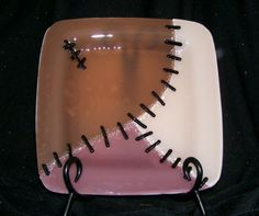 paint your own pottery idea for Halloween, frankenplate