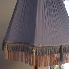 Huge lilac pleated vintage standard lampshade