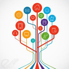 Technology growth tree concept illustration