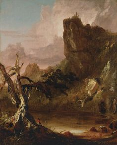 """Imaginary Landscape with Towering Outcrop"" Thomas Cole 1846-1847"