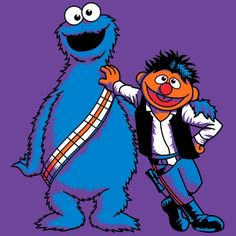 Scruffy Looking Smugglers | A Star Wars parody featuring Cookie Monster as Chewbacca and Ernie as Han Solo | Art by Tony Nichols