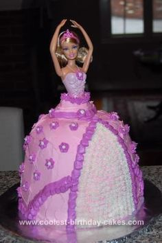 Homemade Ballerina Barbie Birthday Cake: My daughter asked for a Barbie cake for her birthday this year. At first I was picturing a flat cake with Barbie sitting on top, with some kind of theme