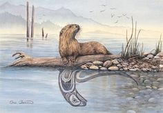 'River Otter' by Sue Coleman Native Art, Native American Art, Native Indian, Otter Tattoo, Kunst Der Aborigines, River Otter, Haida Art, Canadian Art, Animal Totems