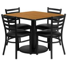 36'' Square Natural Laminate Table Set with 4 Ladder Back Metal Chairs - Black Vinyl Seat [RSRB1015-GG] by Belnick Inc. by Belnick Inc.. $324.79. 36'' Square Natural Laminate Table Set with 4 Ladder Back Metal Chairs - Black Vinyl Seat [RSRB1015-GG]. Save 47% Off!