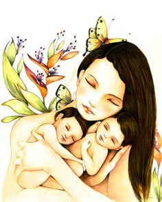 Mère et twins avec art les cheveux brun imprimé par claudiatremblay