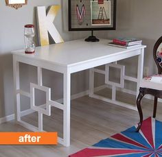 From Apartment Therapy - A before and after ikea dining room table turned desk