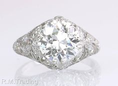 Vintage Antique GIA Certified 2.85ct Diamond Platinum Art Deco Engagement Ring #SolitairewithAccents
