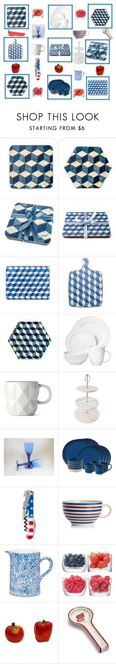 Blue and White kitchen dining ware by einder on Polyvore featuring interior, interiors, interior design, home, home decor, interior decorating, Royal Doulton, Tory Burch, LSA International and Sur La Table