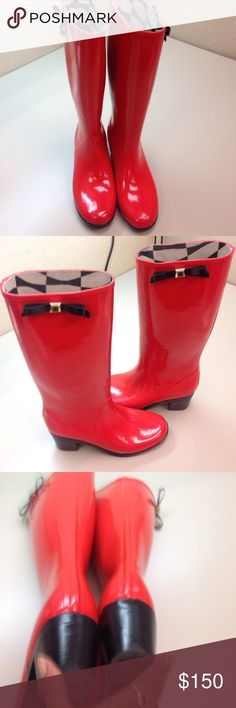 Authentic KATE SPADE RUBBER BOOTS Knee high red rubber boots. Black& gold tone bow on outer top rim. Black 2' heels Rubber signature soles. SPADE ♠️ symbol on bottom of heels. Like new worn once. No scuffs scratches scraps jokes or tares. Super duper cute warm & water proof kate spade Shoes Winter & Rain Boots