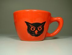 12oz cup owl (clementine) - Made to Order / Pick Your Colour. $32.00, via Etsy.