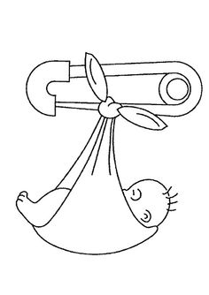 Embroidery Pattern Baby Hanging From A Safety Pin
