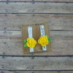 Yellow Felt Flower with French Script on Wooden Clip Refrigerator Magnets Set of 2 by PaisleyMoose on Etsy