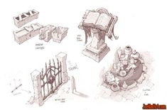 though untouched for an age, the room looked as though the wizard had only just left.  Battle Chasers Nightwar game props concept art (2)